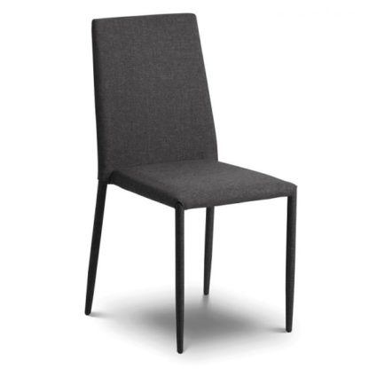 An Image of Fredo Fabric Dining Chair In Slate Grey Linen