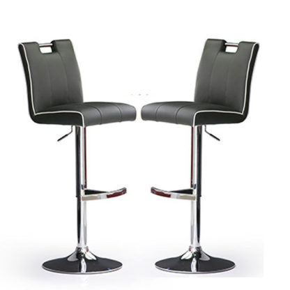 An Image of Casta Bar Stools In Grey Faux Leather in A Pair