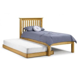 An Image of Velva Wooden Hideaway Single Bed In Low Sheen Lacquer