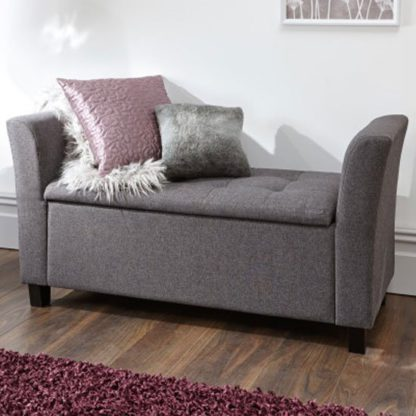 An Image of Charter Fabric Ottoman Seat In Charcoal Grey With Wooden Feet