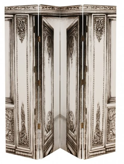 An Image of Roman Print Grey and White Canvas Room Divider Home and Office
