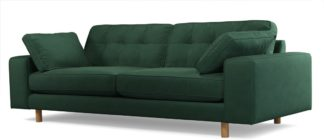 An Image of Content by Terence Conran Tobias, 3 Seater Sofa, Plush Hunter Green Velvet, Light Wood Leg