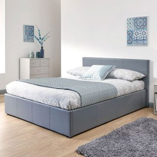 An Image of End Lift Ottoman Faux Leather Small Double Bed In Grey