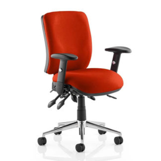 An Image of Chiro Medium Back Office Chair In Tabasco Red With Arms