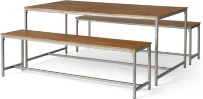 An Image of Lomond Dining Table and Bench Set, Honey Mango Wood & Brushed Steel