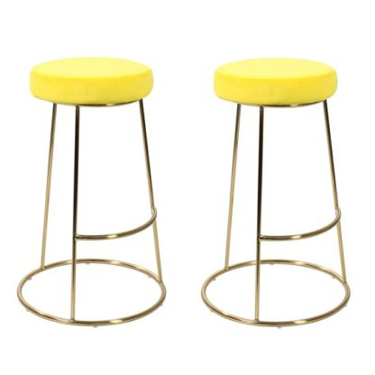 An Image of Opera Yellow Finish Bar Stool In Pair