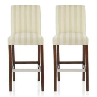 An Image of Alden Bar Stools In Cream Fabric And Walnut Legs In A Pair