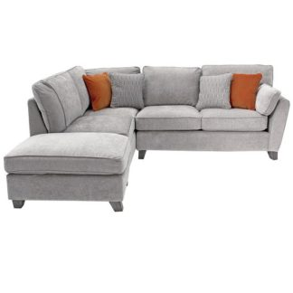 An Image of Barresi Chenille Fabric Left Hand Corner Sofa In Silver Finish