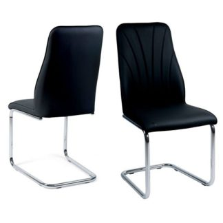 An Image of Irma Dining Chairs In Black Faux Leather In A Pair