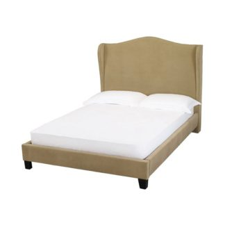 An Image of Chateaux Wing Double Fabric Bed In Beige