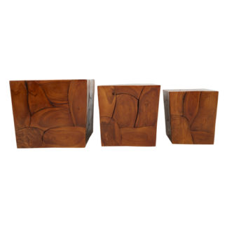An Image of Praecipua Set Of 3 Teak Wood Root Stools In Brown
