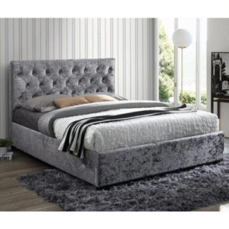 An Image of Cologne Fabric Double Bed In Steel Crushed Velvet