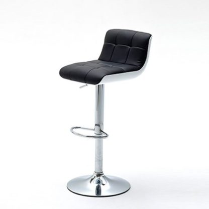 An Image of Bob Black Bar Stool In Faux Leather With Chrome Base