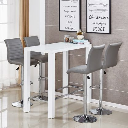 An Image of Jam Glass Bar Set Rectangular White Gloss 4 Ripple Grey Stools