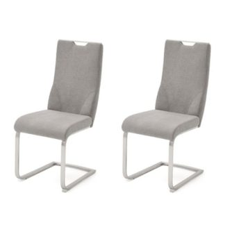 An Image of Jiulia Ice Grey Fabric Cantilever Dining Chair In A Pair