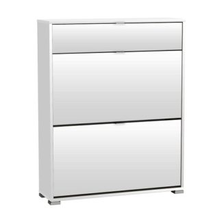 An Image of Dylan Wooden Shoe Cabinet In Pearl White