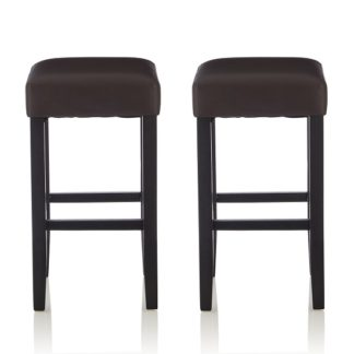An Image of Newark Bar Stools In Brown PU And Black Legs In A Pair