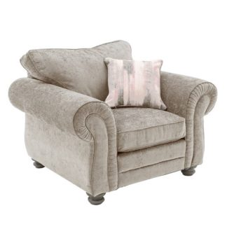 An Image of Esprit Fabric Sofa Chair In Mink With Wooden Legs