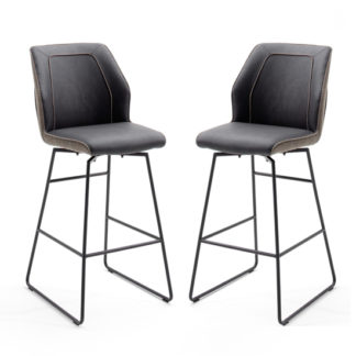 An Image of Aberdeen Brown PU Leather Bar Stool In Pair