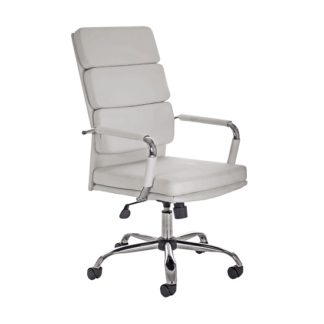 An Image of Gleeson Bonded Leather Executive Chair In White With Wheels