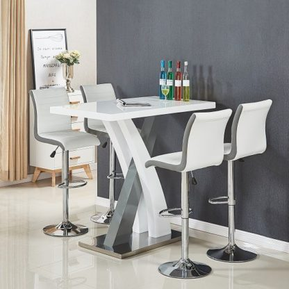An Image of Axara Bar Table In White And Grey Gloss With 4 Ritz White Stools
