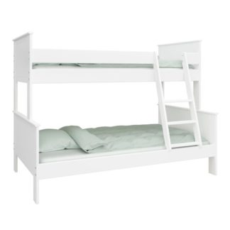 An Image of Alba Wooden Family Bunk Bed In White