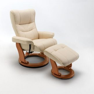 An Image of Gumala Recliner Leather Armchair In Cream With Footstool