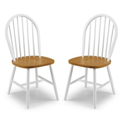 An Image of Beecher Wooden Dining Chair In White And Oak In A Pair