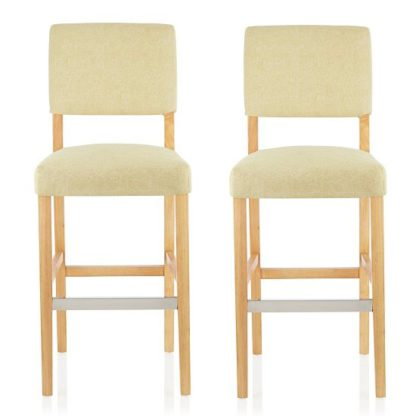 An Image of Vibio Bar Stools In Oatmeal Fabric And Oak Legs In A Pair