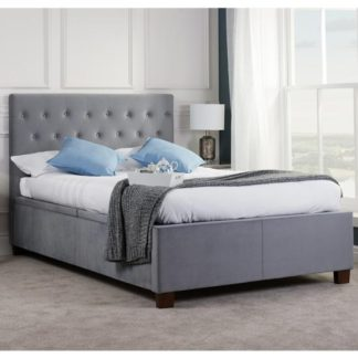 An Image of Cologne Ottoman Fabric Double Bed In Grey
