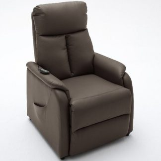 An Image of Ofelia Relaxing Chair In Brown Faux Leather With Rise Function
