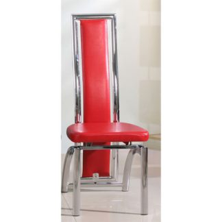 An Image of Chicago Dining Chair In Red With Padded Seat and Chrome Frame