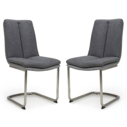 An Image of Triton Dark Grey Linen Effect Dining Chair In A Pair