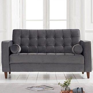An Image of Revati Velvet 2 Seater Sofa In Grey