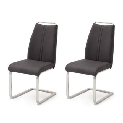 An Image of Giulia Anthracite Leather Cantilever Dining Chair In A Pair