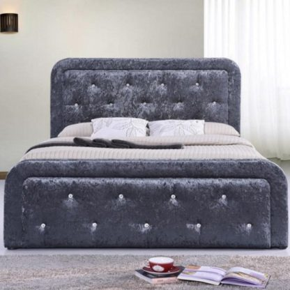 An Image of Ravello Fabric Storage Double Bed In Dark Grey Crushed Velvet