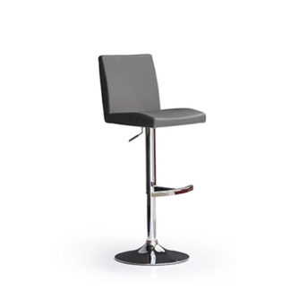 An Image of Lopes Grey Bar Stool In Faux Leather With Round Chrome Base