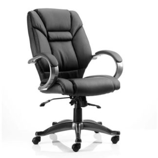 An Image of Galloway Leather Executive Office Chair In Black With Arms