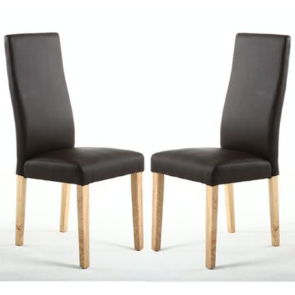 An Image of Bexley Brown Matt Leather Wave Back Dining Chair In A Pair