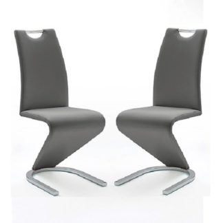 An Image of Amado Z Grey Faux Leather Dining Chair In A Pair