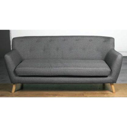 An Image of Lyrae Fabric 3 Seater Sofa In Dark Grey