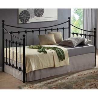 An Image of Florida Vintage Style Metal Daybed In Black