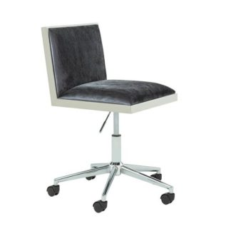 An Image of Apex Office Chair In Charcoal Velvet With Stainless Steel Frame