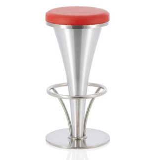 An Image of Romania Bar Stool In Red Faux Leather With Stainless Steel Base