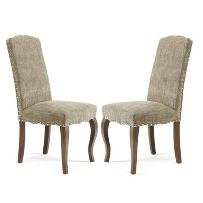 An Image of Madeline Dining Chair In Bark Fabric And Walnut Legs in A Pair
