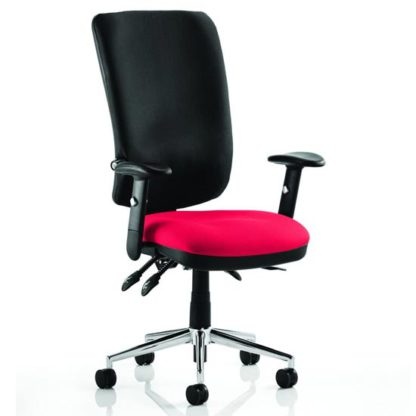 An Image of Chiro High Black Back Office Chair In Bergamot Cherry With Arms