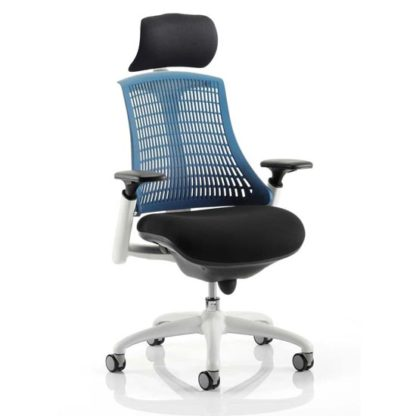 An Image of Flex Task Headrest Office Chair In White Frame With Blue Back