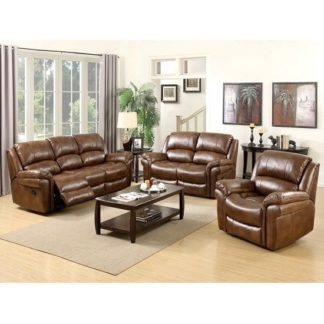An Image of Claton Recliner Sofa Suite In Tan Faux Leather