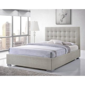 An Image of Addison Fabric King Size Bed In Sand With Chrome Feet