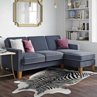 An Image of Bowen Fabric Corner Sofa with Contrast Welting In Linen Blue